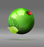 vector green globe with leaves and ladybug