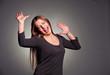 joyful woman over dark