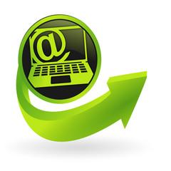 bouton ordinateur portable internet flêche verte