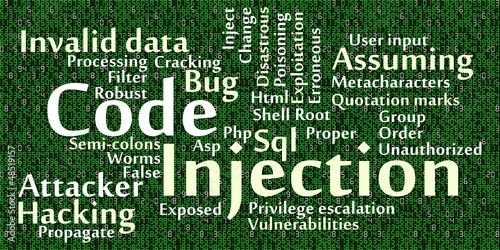 Code injection word cloud with data background