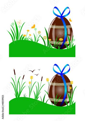 Oeufs chocolat - Paysage prairie et marais - Pâques