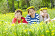 Children on lawn