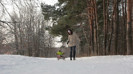Woman pulling sledge with her kid