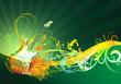 Floral Hintergrund Gitarre Grün