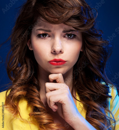 Expressive portrait of a beautiful  young woman
