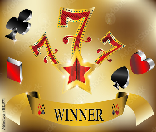gambling winner lucky seven 777 banner gold vector illustration