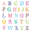 hand drawn abc letters on white