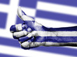 Greek flag on thumbs up hand