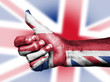 Union Jack on thumbs up hand