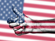 US flag on thumbs up hand