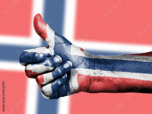 Norwegian flag on thumbs up hand