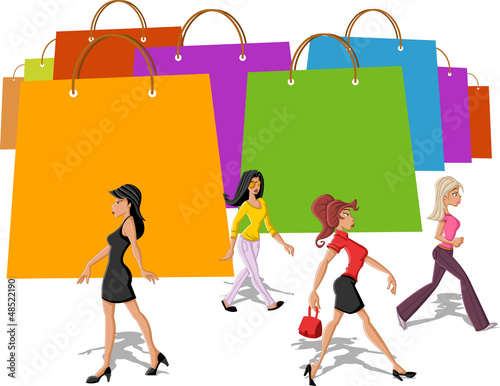 shopping paper bags and pretty women walking
