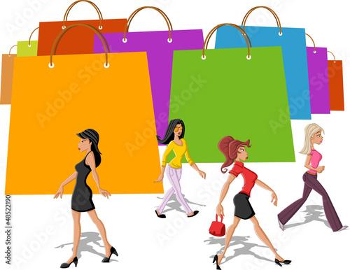 shopping paper bags and pretty women walking