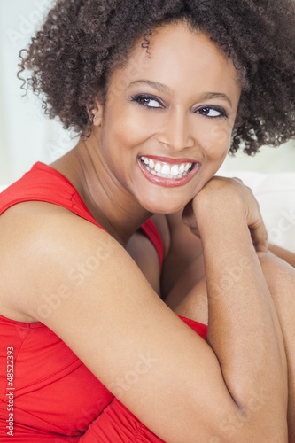 Happy Mixed Race African American Girl Perfect Teeth