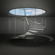 indoor spiral staircase leading to sky above clouds