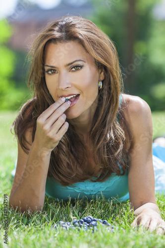 Woman Eating Blueberries Fruit