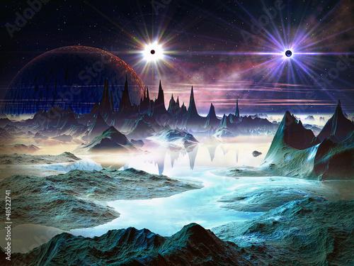 Twin Stars over Blue Alien Landscape