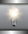 3D background with light bulb illuminated