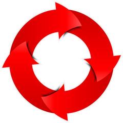 Vector red arrows circle