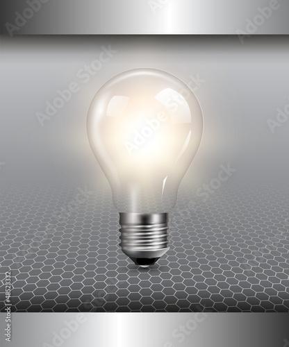 3D background with light bulb illuminated