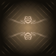 Vector brown background with gold ornament