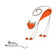 Red cat catches a mouse.Illustration