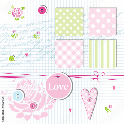 Scrapbook design elements, seamless patterns