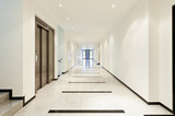 modern architecture, interior, view of the long corridor - 48525104