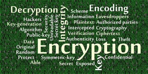 Encryption word cloud with data background