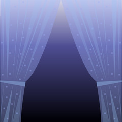 Vector illustration of blue curtain