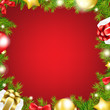 Christmas Red Background With Ribbon And Xmas Ball