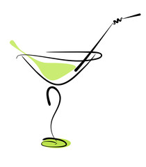 Alcohol cocktail in glass with straw on white. Vector eps10 illu