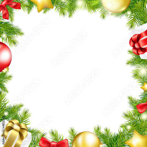 Christmas Background With Ribbon And Xmas Ball