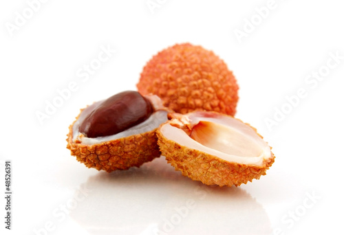 Lychee (Litchi chinensis) isolated on white background