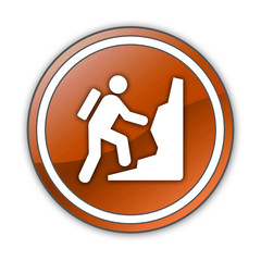 "Orange Glossy Button ""Climbing"""