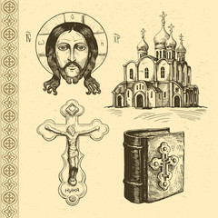 Orthodox symbols hand drawn