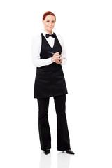 pretty waitress taking order isolated on white