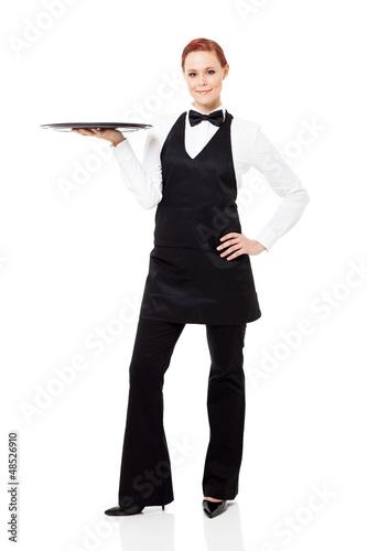 pretty waitress full length portrait on white