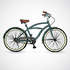 Vintage bicycle - vector illustration in the doodle style