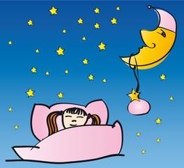 Mädchen schläft mit Mond und Sternen
