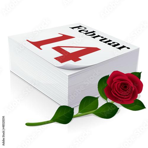 Kalender: 14. Februar, Valentinstag und rosa