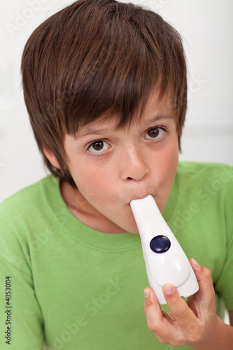 Boy with inhaler