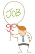 cartoon character of  man holding balloon with the new job label