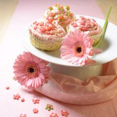 Rosafarbene Cupcakes