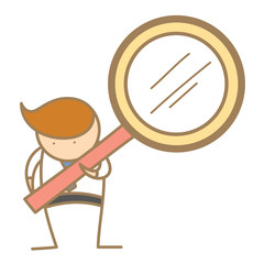 cartoon character of  man searching using magnifyer