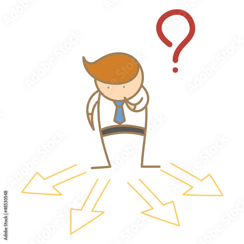 cartoon character of business man confusing which direction