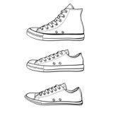 Set of high, low and slim sneakers in sketch style