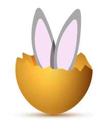 Bunny jumping out from broken egg