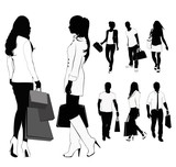 Isolated silhouettes of people shopping.Vector illustration