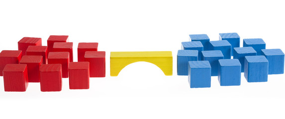 Wooden blocks concept: Bridge between two groups